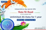 Reliance Independence Day Offer : Unlimited 2G data for 1 year at rs 70 low price