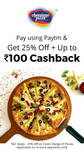 Cheesiano Pizza :- 25% off Plus Up to Rs.100 Cashback when you pay using Paytm