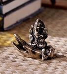 Brown Brass Ganesha on Palm Statue by Handecor