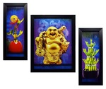 INDIANARA 3 PC SET OF LAUGHING BUDDHA BAMBOO COIN PAINTINGS (1104) WITHOUT GLASS