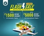 Flash Flight Sale -  Upto Rs.1500 Discount on Domestic Flight & Rs.5000 on Int' Flight. No minimum value required. (TODAY)