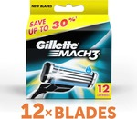 Gillette Mach 3 Cartridges  (Pack of 12)