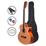 Zabel Acoustic Guitar 40 Inches Matt Finish, Natural, With Combo Guitar Bag, Strings, Strap And Picks