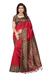 Ishin Art Silk / Blended Mysore Silk Red Printed Women's Saree/Sari With Tassels