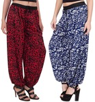 Adonia Women's Poly Cotton Combo Of 2 Harem Pant (Red, Blue,Free Size)