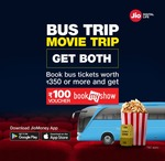 Jiomoney :- Book bus tickets worth 350rs or more & Get 100rs bookmyshow voucher free