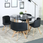 Perfect Homes by Flipkart Atiu Glass 4 Seater Dining Set (Finish Color - Black)