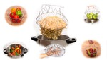 ShineLife Chef Basket 12 in 1 Kitchen Tool for Cook, Deep Fry, Boiling Solid Steel Delux