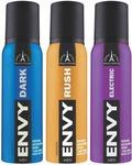 Envy Dark, Rush & Electric Deo Combo (Pack of 3) Body Spray Body Spray - For Men (360 ml, Pack of 3)