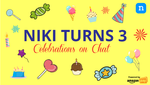 Niki Turns 3 - AmazonPay, LazyPay and Freecharge offers and Also Quizzes, Lucky Draw etc