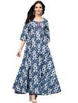 Amayra Women's Blue Floral Printed Long Length Anarkali Cotton Kurti