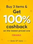 100% Cashback on Girls Fashion