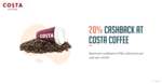 20% cashback upto 50 at Cost Coffee with Freecharge