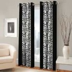 Optimistic Home Furnishing Polyester Door Curtain 210 cm (7 ft) Pack of 2  (Floral Black)