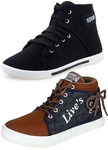 Ethics Men's Perfect Combo Pack Of 2 Leather Casual Sneakers Shoes - Multicolour