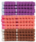 Linea Ribbed Zero Twist Cotton 12 Piece Face Towel Set 600 GSM - Brown, Purple & Ornge