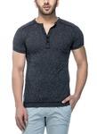 Tinted Men's Cotton Linen Henley Half Sleeve T-Shirt