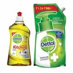 Dettol Kitchen Gel - 400 ml (Lemon) with Dettol Original Liquid Soap Refill - 750 ml at Rs. 164