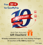 EaseMyTrip - Sign Up for 10th Anniversary Sale and Get Assured Shopping Vouchers