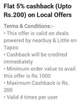 Tapzo - 5% cashback upto 200 on local deals