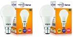 Wipro Garnet N90002 Base B22 9-Watt LED Bulb (Pack of 2, Warm White and Golden Yellow)