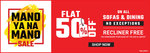 Home town : Flat 50% off on all sofas and dining + free recliner on purchase of Rs 50,000