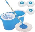 CheckSums 11031 Magic Dry Bucket Mop - 360 Degree Self Spin Wringing With 3 Super Absorbers for Home & Office Floor Cleaning-Multicolor Mop Set