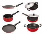 Nirlon Non-Stick Aluminium Cookware Set, 6-Pieces, Red/Black
