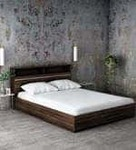 Enri Queen Size Bed with Front Drawers and Box Storage in Wenge Finish by Mintwud