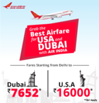 Great Deal @ Air India - Fly to USA & Dubai with Lowest Fares