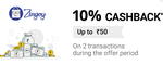 [PhonePe] 10% cashback up to ₹50 on first two transaction during the offer period on Zingoy website