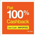 Flat 100% cashback on imported products