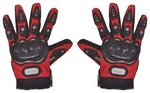 Romic Leather Motorcycle Full Gloves (Red, XXL)
