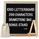 Toys Bhoomi Kids Activity Play Easel Oak Wood Framed 10*10 inch Felt Puzzle Alphabet Learning Letter Board with 288 Letters, Numbers & Symbols + Free Canvas Bag , Wall Mount and Stand