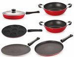 Nirlon Non-Stick Aluminium Cookware Set, 6-Pieces, Red
