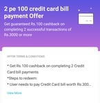 Paytm - Get guaranteed 100 cashback on doing 2 credit card bill payments  [Currently Only Kotak & Indusind cards]