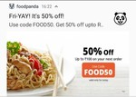 Flat 50% off upto Rs.100 @ Foodpanda (Only Today)