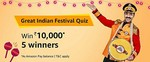 Amazon Great Indian Festival Quiz Answers - Answer and Win ₹10000 - 3rd October 2018