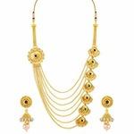 Meenaz Jewellery Gold Kundan Pearl Ruby Maang Tikka Necklace Jewellery Sets @199
