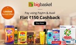 Bigbasket - Rs.150 cashback on a minimum purchase of Rs. 1500 with Paytm (1-15 Dec)
