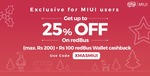 Exclusive for MIUI Users: Get up to 25% discount on redBus and a cashback of ₹100 into redBus wallet