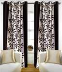 Red Hot 210 cm (7 ft) Polyester Door Curtain (Pack Of 2)  (Floral, Brown)