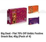 BIG DEAL - Flat 70% Off Unibic festive Snack Bar, 40gm(Pack of 4)