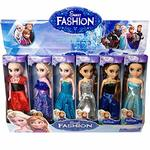 Disney Toys Anime Cartoon Movies Frozen Princess Anna and Elsa Dolls, 16 cm -Set of 6 (Multicolour)