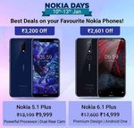 Nokia Days : Best Deals on Nokia Phones : 24% off on Nokia 5.1 Plus 32 GB & 14% off on Nokia 6.1 Plus 64 GB
