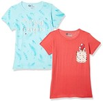 Qube By Fort Collins Girls' Animal Print Regular Fit T-Shirt (Pack of 2) at just Rs.209