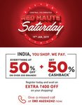 Central - Red haute Saturday (19th Jan. ) 50% off + 50% Cashback + Extra 400 Rs off Code