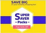 Flat 50% Off On Super Saver Pack Starting From Rs 70