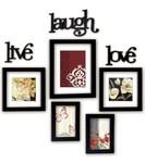 @Home Live Laugh Love Plastic Photo Frame (17.3 cm x 12.6 cm x 1.81 cm, Black, Set of 5) for 499