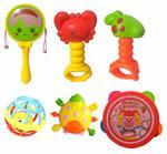 IndusBay® 6 Pcs Baby Rattle - Baby Concert - 4 Cute Rattle, 1 Tambourine, 1 Trumpt